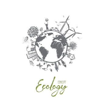 エコロジーの概念。手描きの持続可能な生態環境。自然との調和が孤立したイラスト。