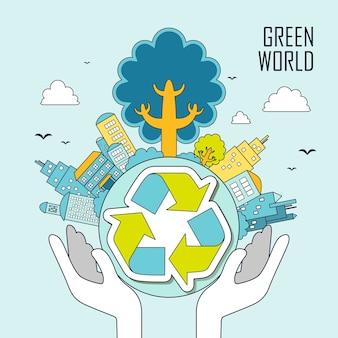 생태 개념:가는 선 스타일로 녹색 세계를 들고 있는 손 프리미엄 벡터