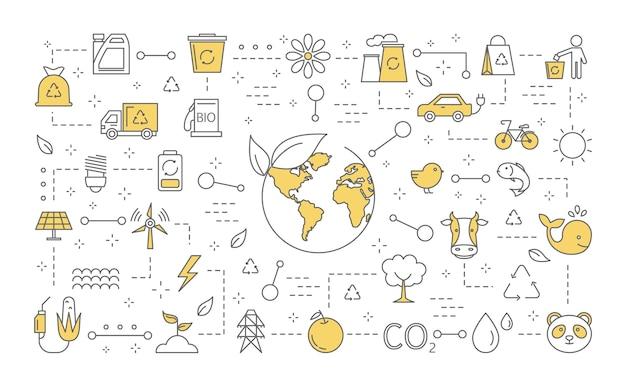 生態学の概念。リサイクルと代替エネルギーのアイデア。地球を救い、環境に配慮してください。生態学的および環境アイコンのセットです。線図