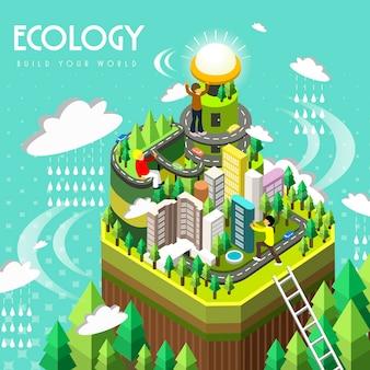 Концепция экологии в 3d изометрической плоской конструкции