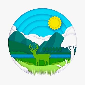 Концепция экологии в бумажном стиле с оленями
