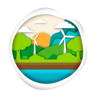 Экология концепции в стиле бумаги с природой