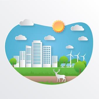 Концепция экологии в бумажном стиле