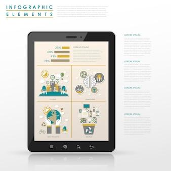 태블릿 요소와 생태 개념 infographic 템플릿