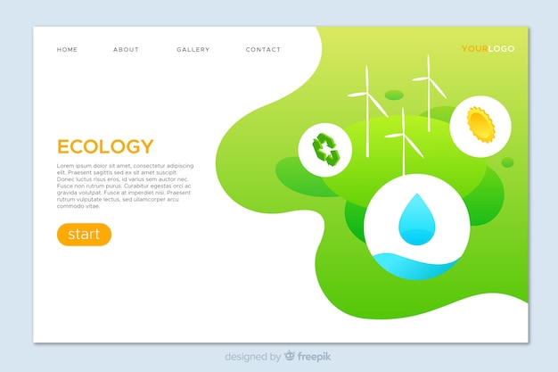 Ecology concept landing page template