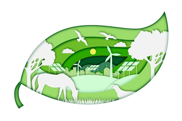 Ecology concept in paper style