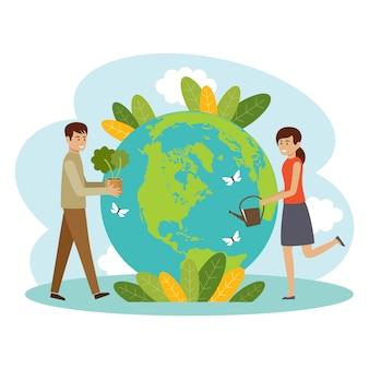 Концепция экологии. люди заботятся о планете. береги природу. земной день. глобус с растениями и добровольцами