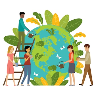 Ecology concept. people take care about planet. protect nature. earth day. globe with plants and volunteer people
