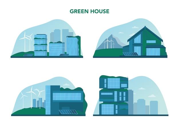 생태 개념을 설정합니다. 수직 숲과 녹색 지붕이있는 친환경 주택 건물. 도시의 좋은 환경을위한 대체 에너지와 녹색 나무. 격리 된 벡터 일러스트 레이 션