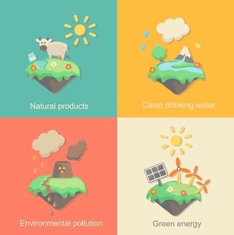 環境、グリーンエネルギー、自然汚染の設計のためのエコロジーコンセプトセット。原子力発電所の森林破壊。フラットスタイル。