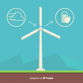Ecology concept with windmill. clean and renewable energy