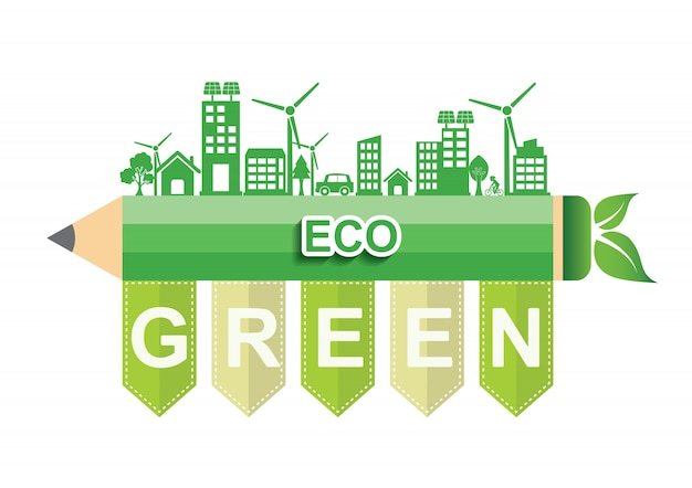 Ecology connection concept. eco green