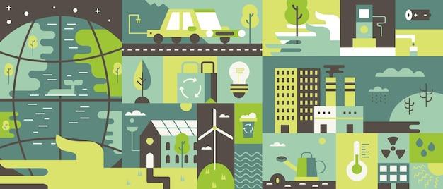 생태 디자인 평면 그림