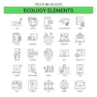 Ecology elementsラインアイコンセット -  25点線のアウトラインスタイル