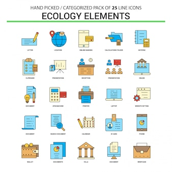 Ecology elements flat line icon set