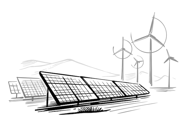 エコロジーエネルギーの代替サスタチン化可能なソーラーパネルのスケッチ。