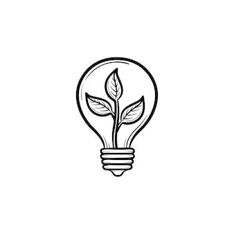 Экология энергии рука нарисованные вектор значок. наброски каракули значок лампочки с растением. эскиз иллюстрации для печати, интернета, мобильных устройств и инфографики, изолированные на белом фоне.