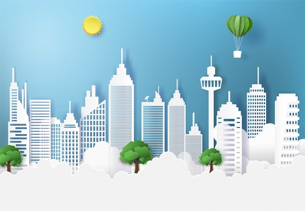 Ecology and environment conservation city and nature landscape.
