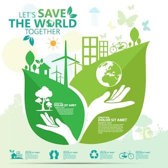 Ecology and environment conservation creative idea concept design