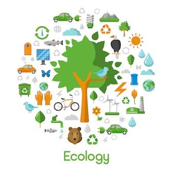 Ecology environment green city concept