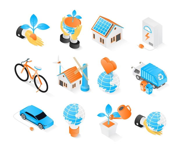 Ecology and environment icon in isometric style premium modern vector concept set