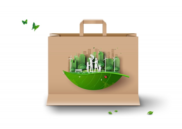 Ecology and environment on paper shopping bag