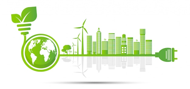 Ecology and environmental concept, earth symbol with green leaves around cities help the world with eco-friendly ideas