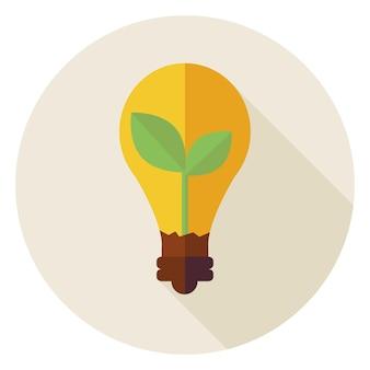 Экология. плоский дизайн природной среды растений с идеей лампы круг значок с длинной тенью. иллюстрация вектора энергии и силы природы. объект биологии. спасите природу.