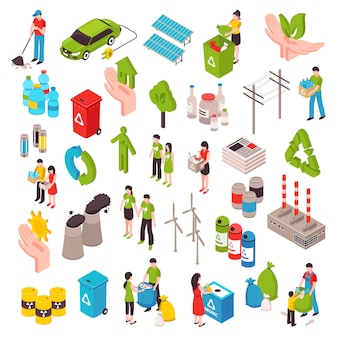 Ecology and garbage isometric set