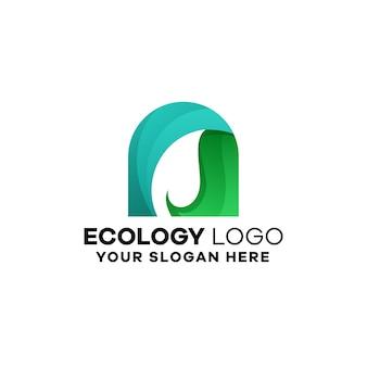 Шаблон логотипа градиента экологии