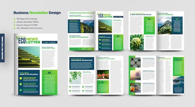 エコロジーグリーンニュースレターデザインまたは環境ジャーナルマガジンデザイン