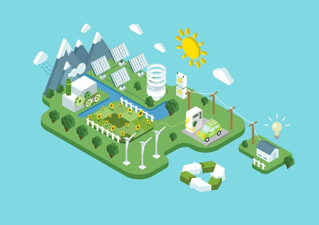 Ecology green renewable alternative energy power consumption sustainable development recycling concept. wind turbine solar station eco natural agriculture isometric   illustration