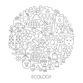 Ecology green technology line emblem