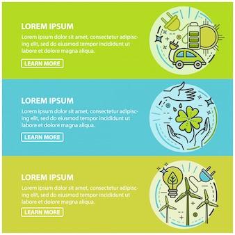 エコロジー、グリーンテクノロジー、オーガニック、バイオ。漫画バナーセット