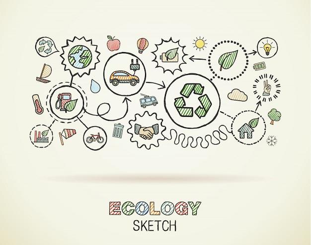 생태 손으로 제곱 된 종이에 통합 된 아이콘을 그립니다. 컬러 스케치 infographic 그림입니다. 연결된 낙서 그림. 친환경, 바이오, 에너지, 재활용, 자동차, 행성, 녹색 개념