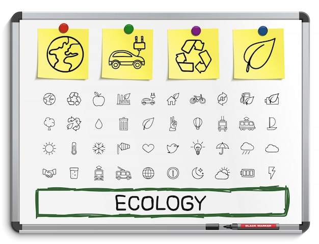 Ecology hand drawing line icons.  doodle pictogram set. sketch sign illustration on white marker board with paper stickers. energy, eco friendly , environment, tree, green, recycle, bio, clean