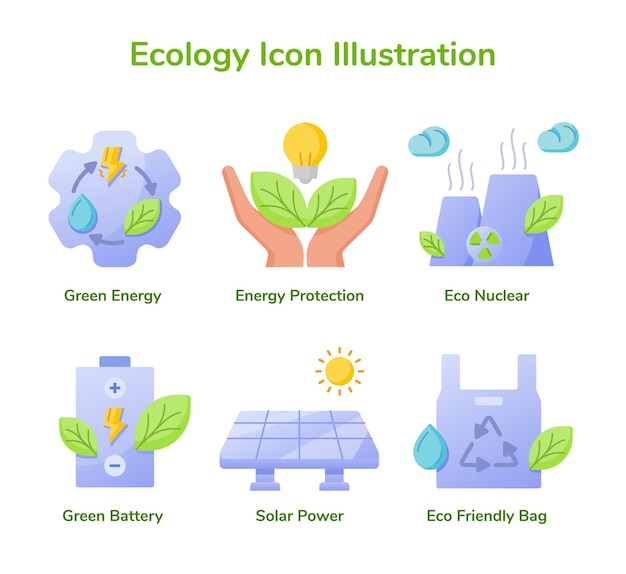 Ecology icon set collection green energy energy protection eco nuclear green battery solar power
