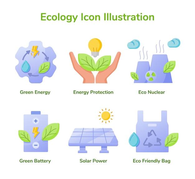 エコロジーアイコンセットコレクショングリーンエネルギーエネルギー保護エコ原子力グリーンバッテリー太陽光発電