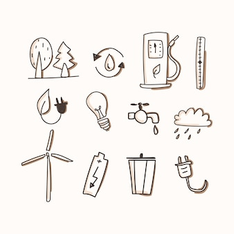 Ecology of icon set. hand draw