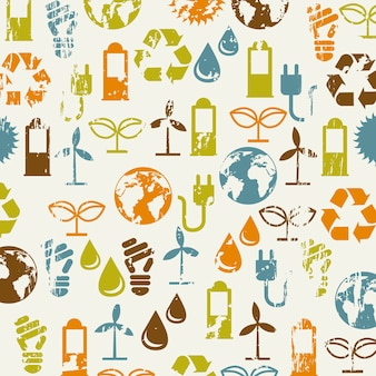 Ecology icons over beige background vector illustration