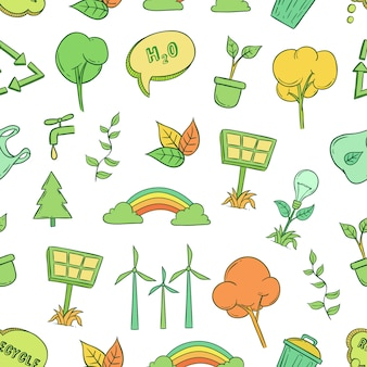 Ecology icons idea in seamless pattern with hand drawn style