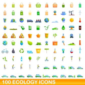 エコロジーアイコンを設定します。白い背景に設定されているエコロジーアイコンの漫画イラスト