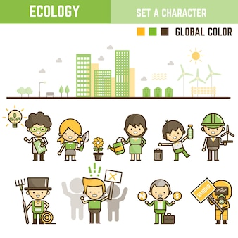 Ecology infographic element set