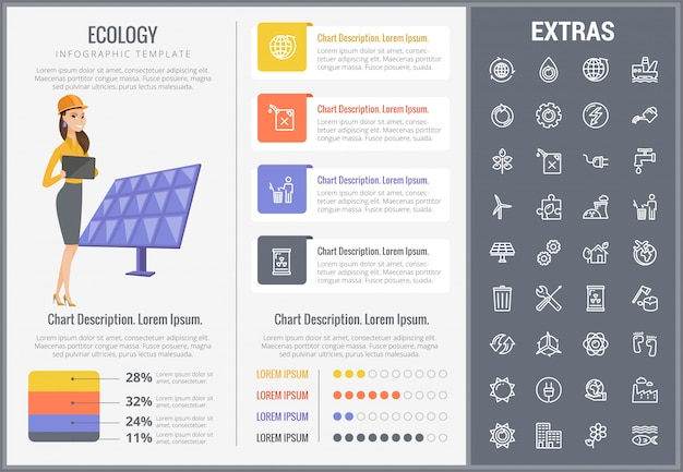 Ecology infographic template, elements and icons.