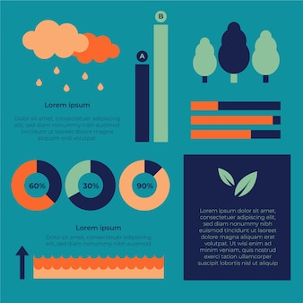 Ecology infographic with trees and clouds