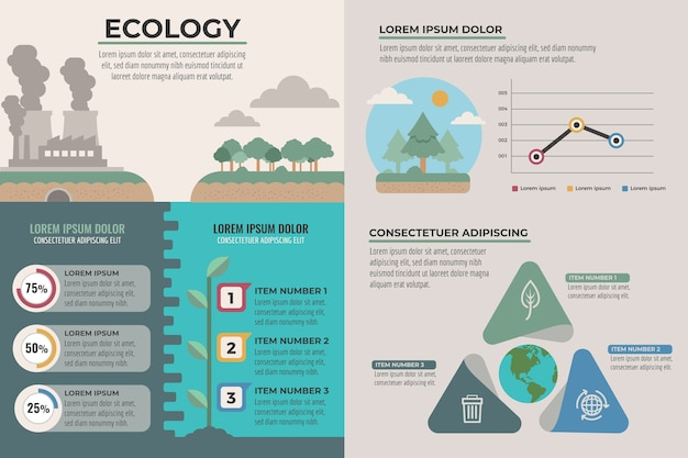 Ecology infographics charts concept