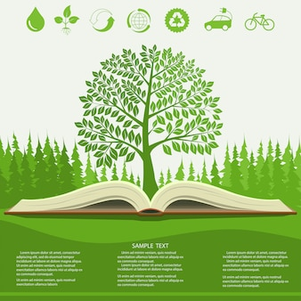 Ecology infographics  with green tree and opened book