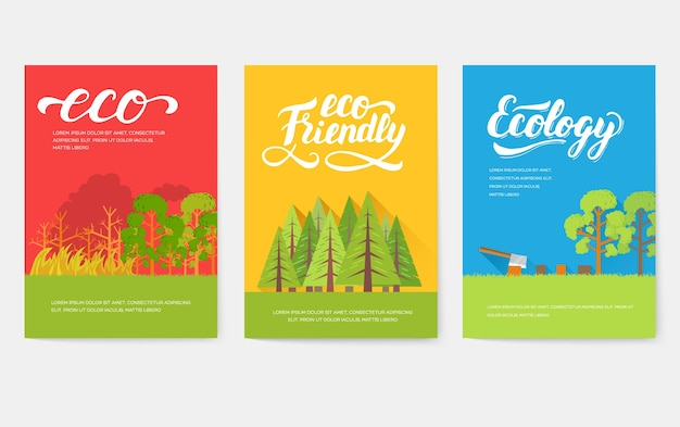 Ecology information cards set. ecological template of flyear, magazines, posters, book cover, banners.