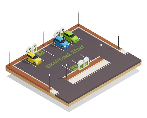 Ecology isometric electric vehicles charging