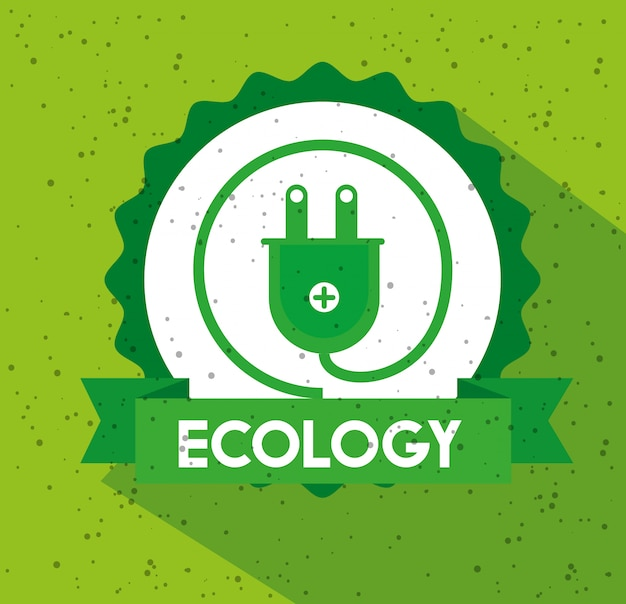 Ecology label with power energy and ribbon